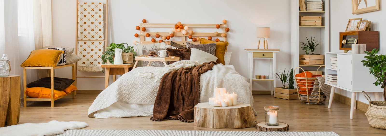 Spacious hygge bedroom interior