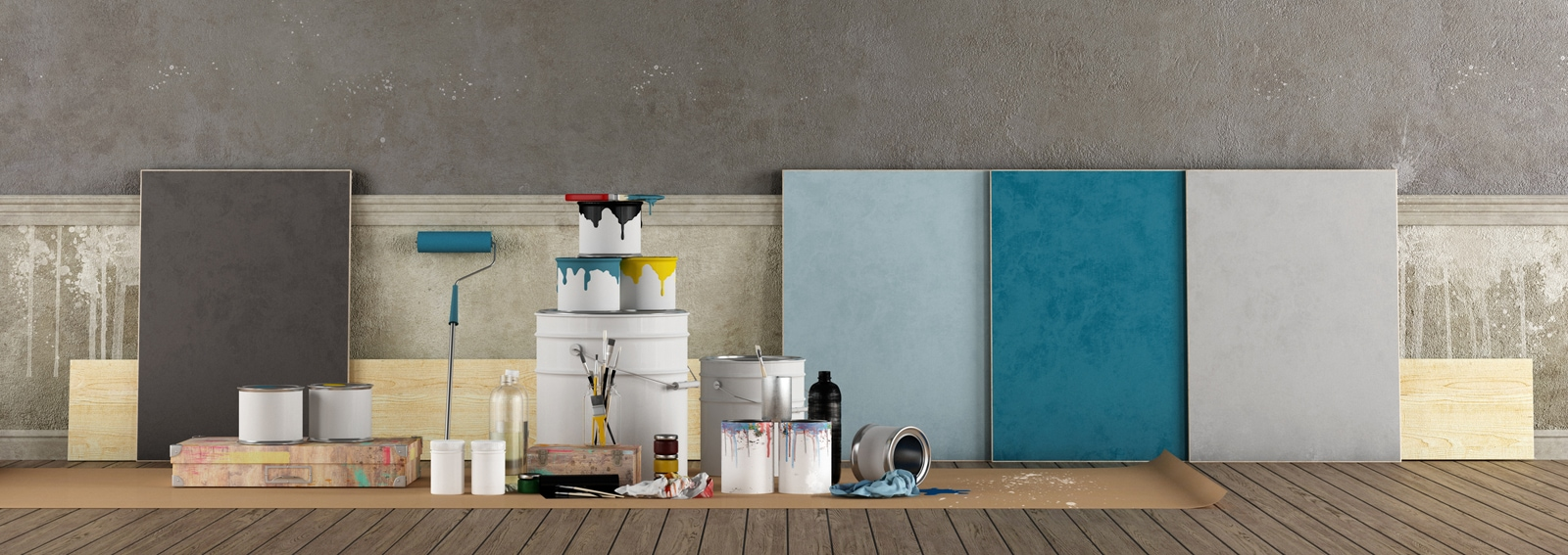 Select color swatch to paint old wall