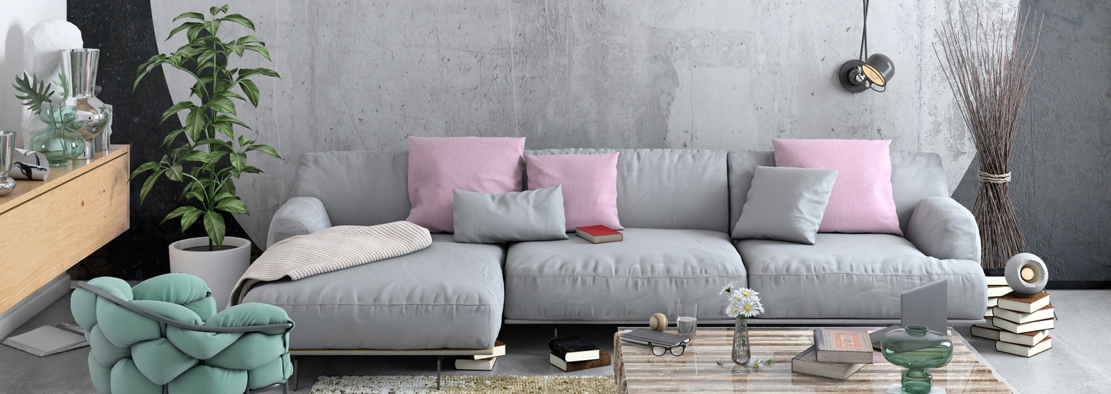 Modern Nordic living room interior with sofa and lots of details