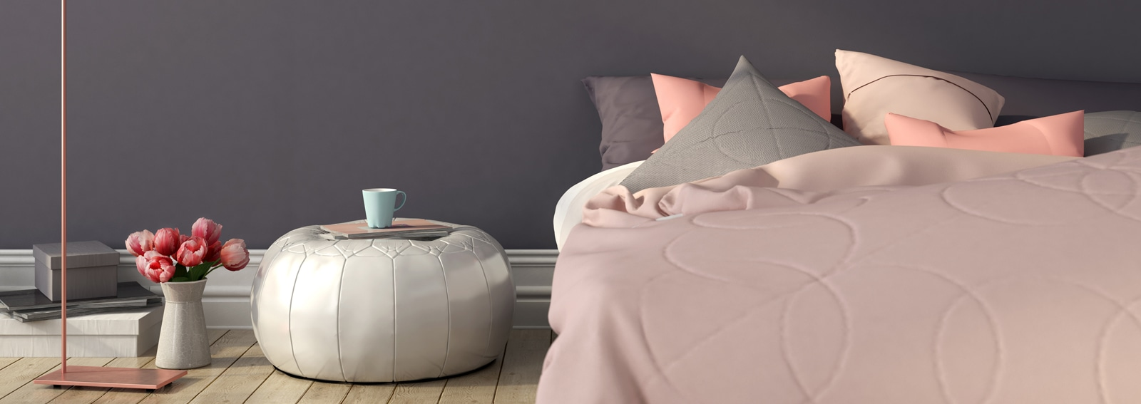 Bedroom in pink and gray color