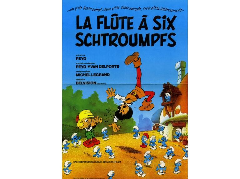 Copertina della versione a fumetti del Flauto a sei puffi