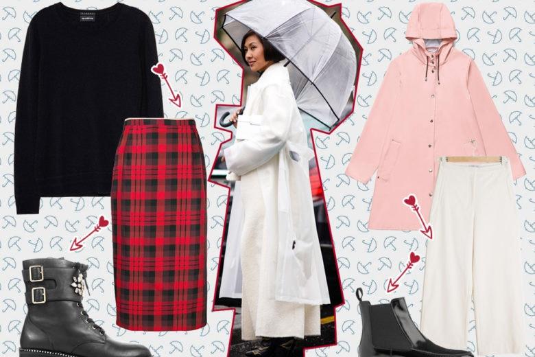 Come vestirsi in caso di pioggia : 5 idee look da cui lasciarsi ispirare