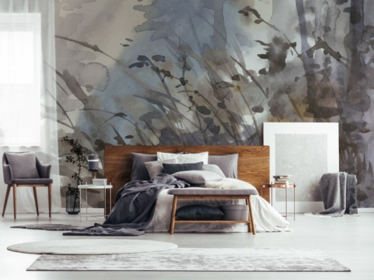 Window and paintings in bedroom