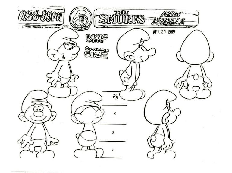 Un model sheet con i Puffi per la serie a cartoni animati di Hanna & Barbera 60 anni dalla nascita dei Puffi
