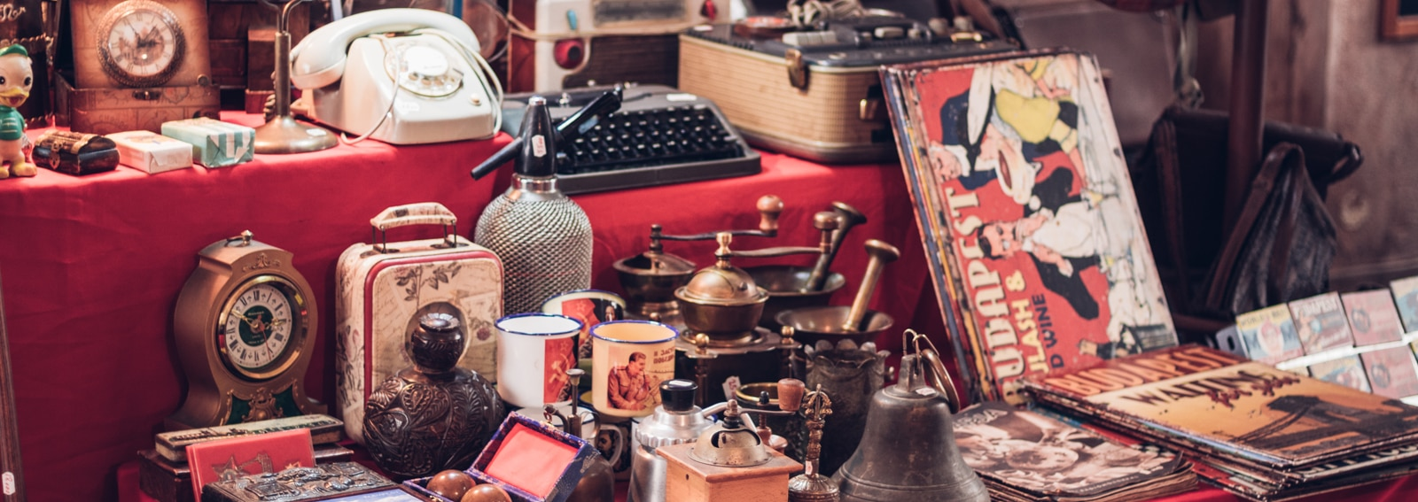 Small group of vintage objects in a flea market