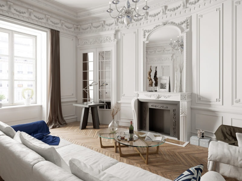 Victorian style living room with modern furniture