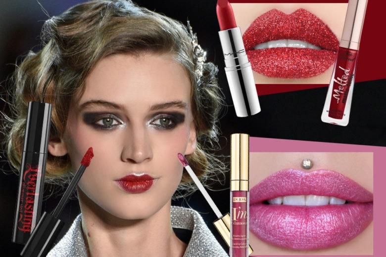 Rossetti glitter e metallici per i make up scintillanti delle Feste