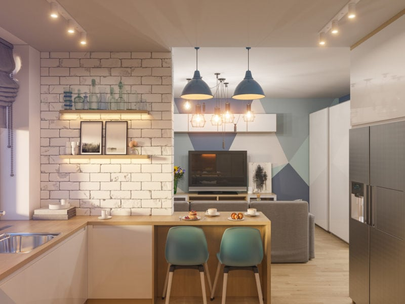 3d illustration living room and kitchen interior design. Modern studio apartment in the Scandinavian minimalist style