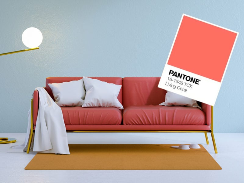 minimalist living  room ,red sofa on white flooring and blue wall.3d render