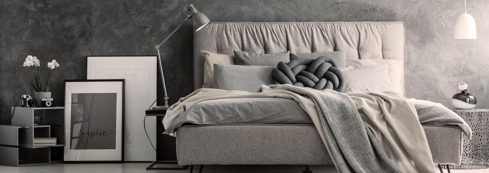 Loft style bedroom's gray design