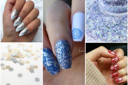 Nail art glaciali inspirate all'inverno: fiocchi di neve e bagliori magici sulle unghie
