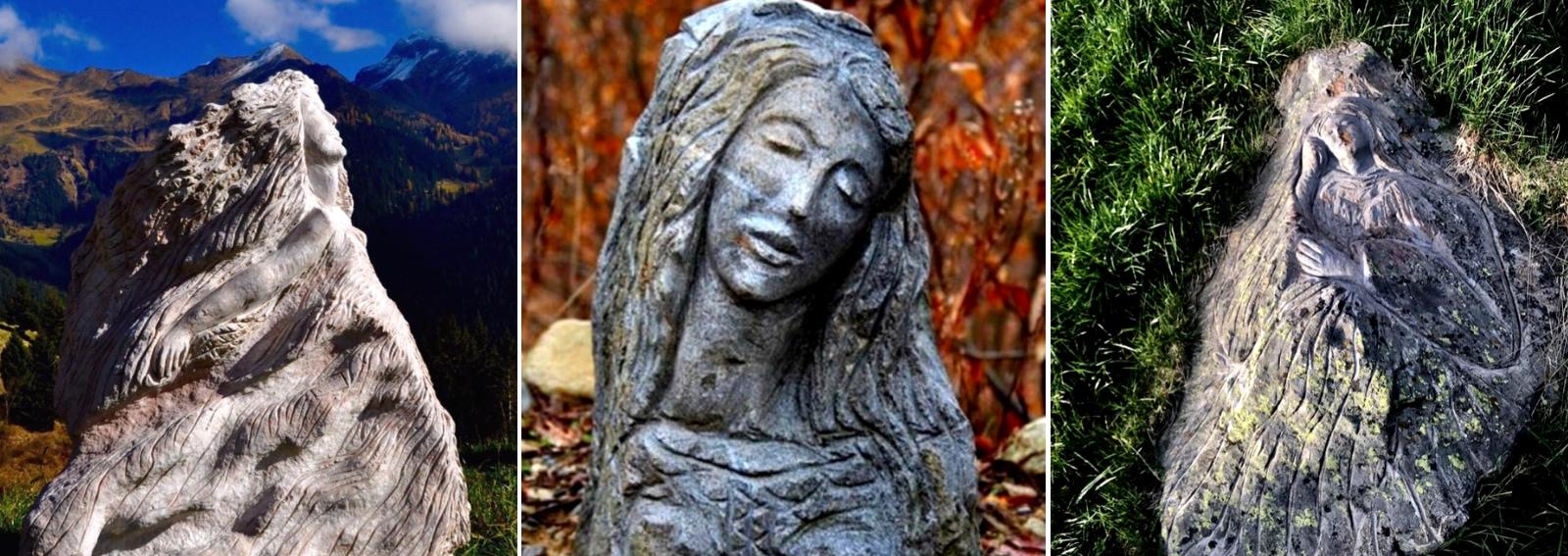 Angelo Fierro sculture nella roccia museo open air Morbegno Val Masino Sondrio Arte scultura DESK