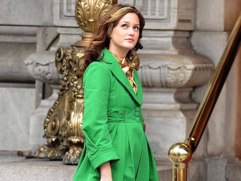 Blair Waldorf giacca verde e oro