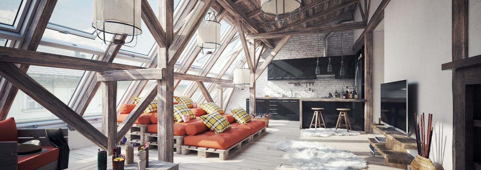 Cozy Scandinavian Attic Loft Interior Scene (Toned Image)