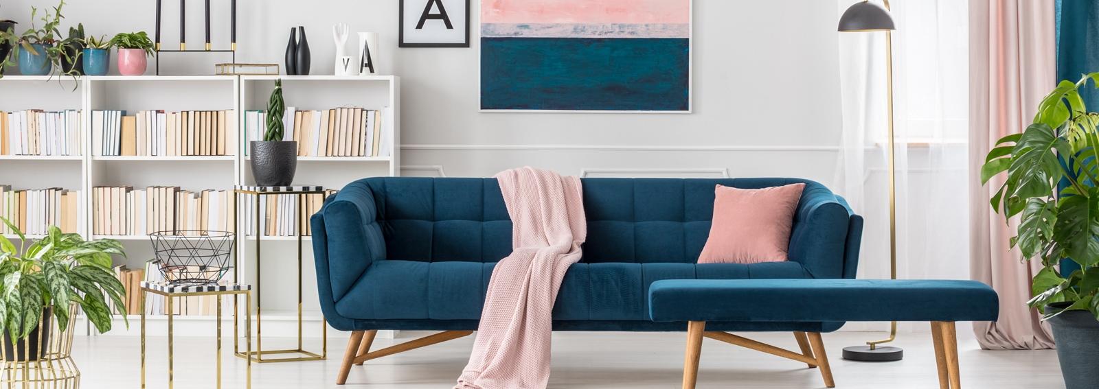 Blue elegant living room interior