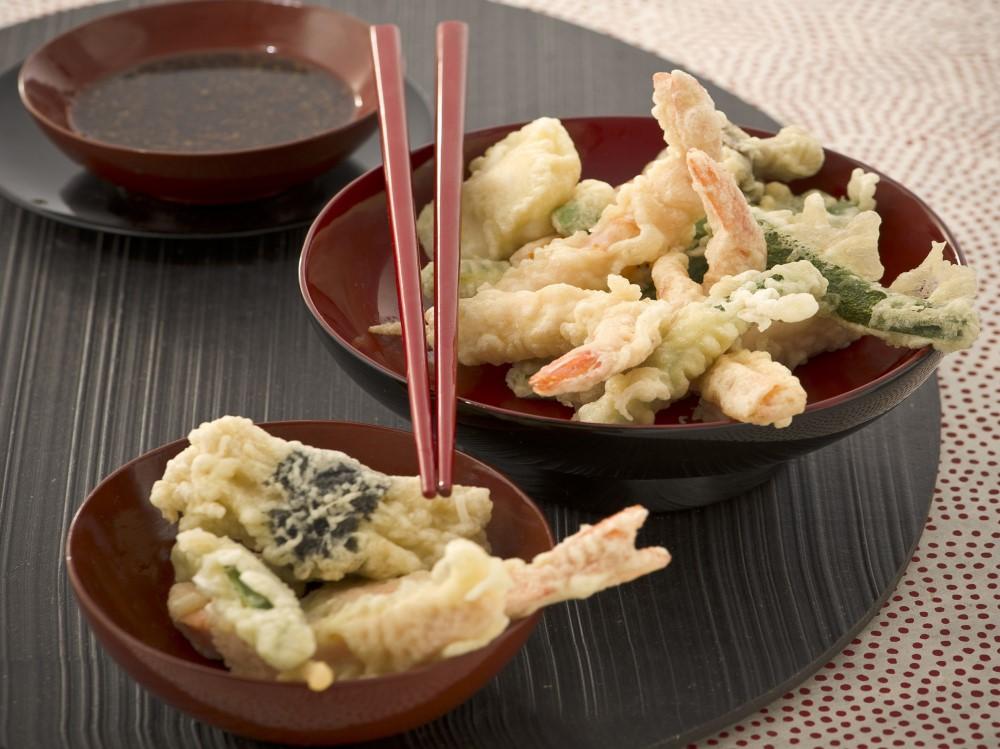 Tempura di pesce e verdure