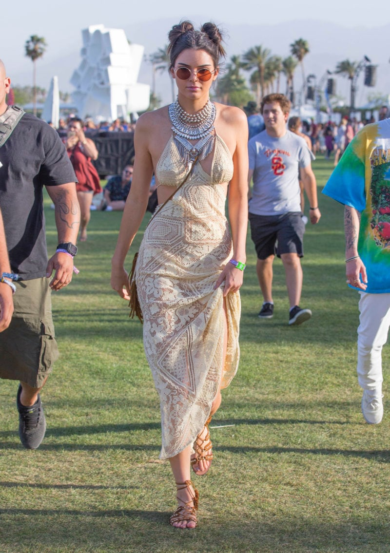 Kendal Jeener Arrive to the Coachella Music Festival in a stunning Beige Lace Dress in Indio California