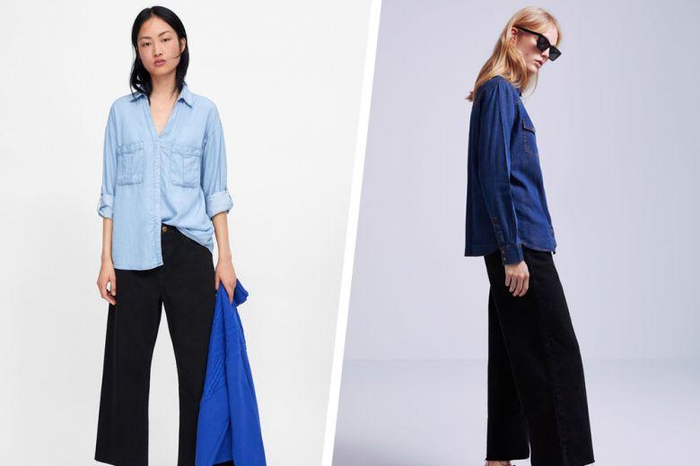 Camicia di jeans + pantaloni neri: la combo perfetta da provare (in 5 varianti diverse)