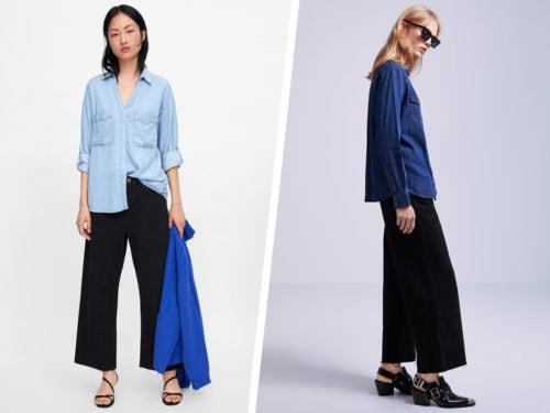 Denim per la camicia in blu jeans e per i pantaloni neri con