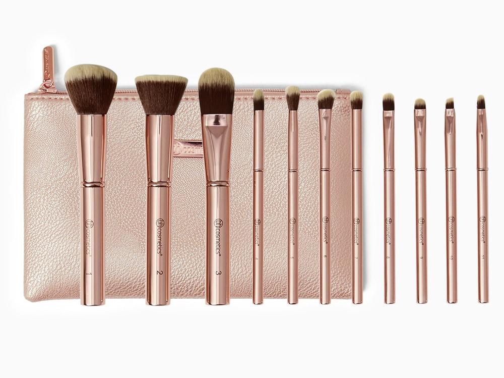 Metal-Rose-11-Piece-Brush-Set-With-Cosmetic-Bag