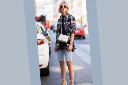 Camicia check, ciclisti in denim e sandali preziosi: per noi la combo di Lisa Hahnbueck è un grande sì!