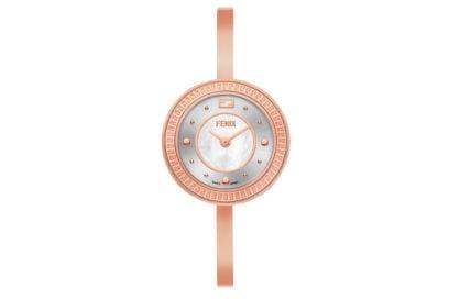 Fendi-orologio-bracciale-rigido-in-acciaio-inossidabile-color-oro-rosa-e-fibbia-gioiello-