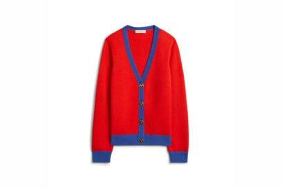 TB Color-Block Cashmere Cardigan 57428 in Brilliant Red – Nautical Blue