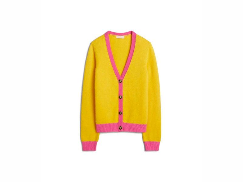 TB Color-Block Cashmere Cardigan 57428 in Lemon Drop – Pink Fire
