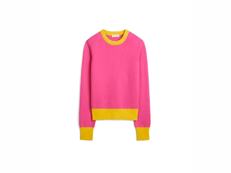 TB Color-Block Cashmere Sweater 57430 in Bright Pink – Lemon Drop