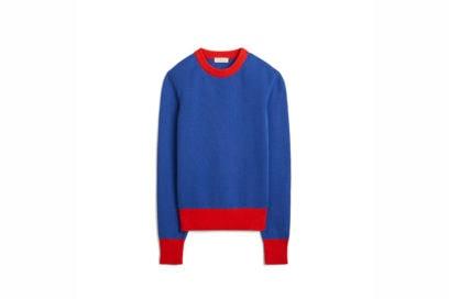 TB Color-Block Cashmere Sweater 57430 in Nautical Blue – Brilliant Red