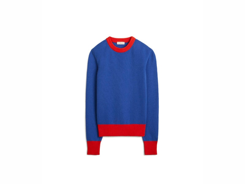 TB Color-Block Cashmere Sweater 57430 in Nautical Blue – Brilliant Red