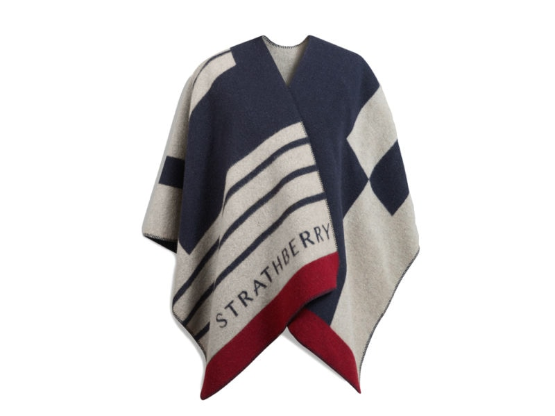 The-Strathberry_Navy-Mix-Colour-Block-Cape_Product_Front