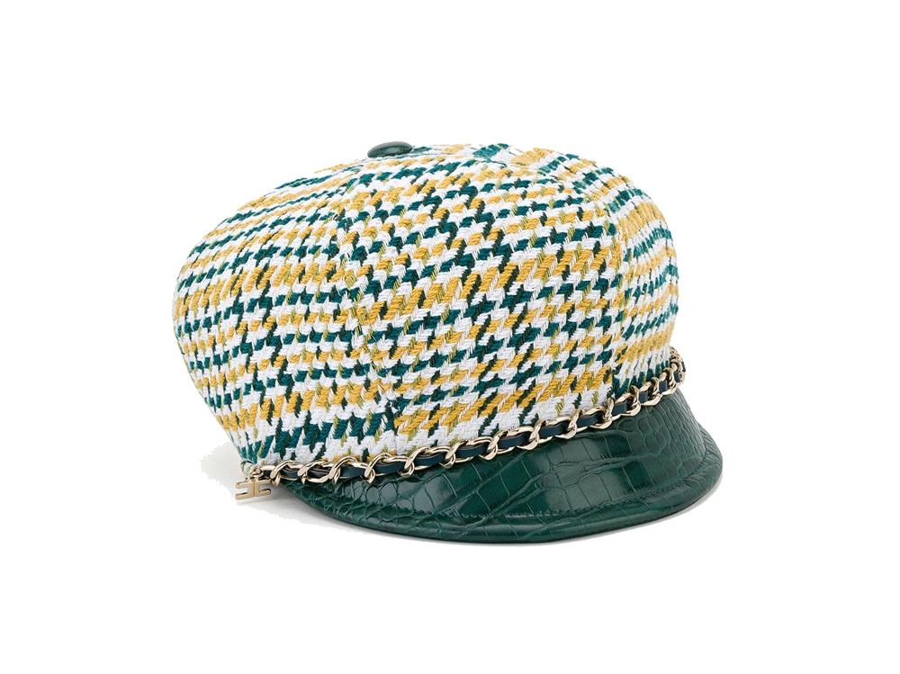 elisabetta-franchi-cappello-in-simil-tartan-con-catena