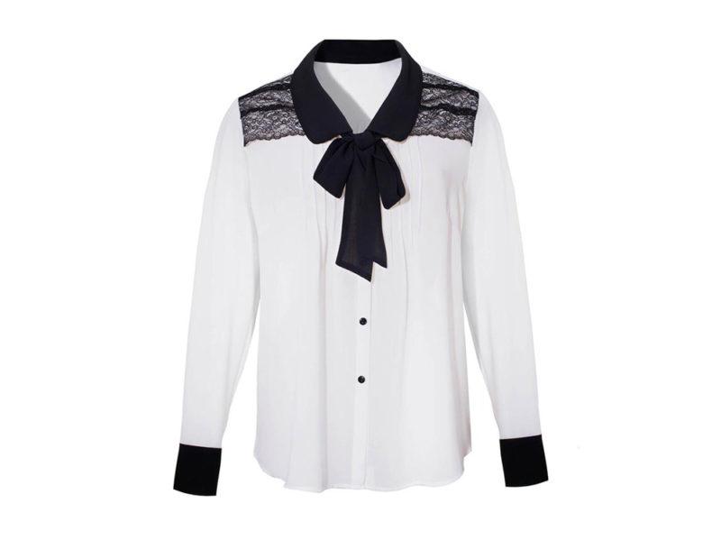 nara-camicie—camicia-in-tessuto-leggero,-pizzo-e-fiocco-nero-a-contrasto