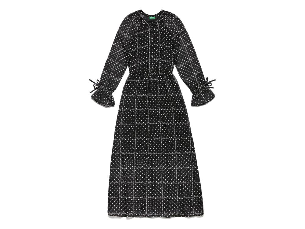 BENETTON-vestito-lungo-a-pois-nero