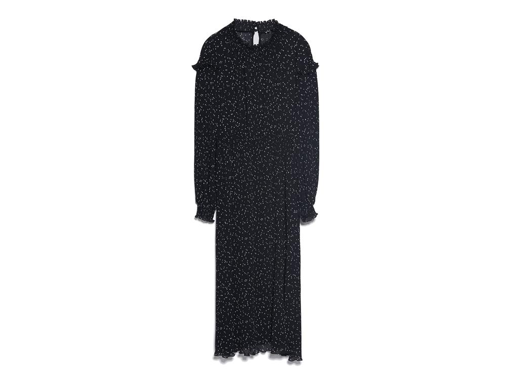 ZARA-vestito-a-pois-plissettato