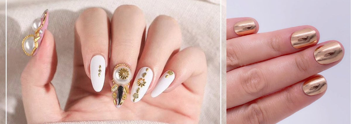 Gold metal nail art: le idee unghie oro più preziose del momento