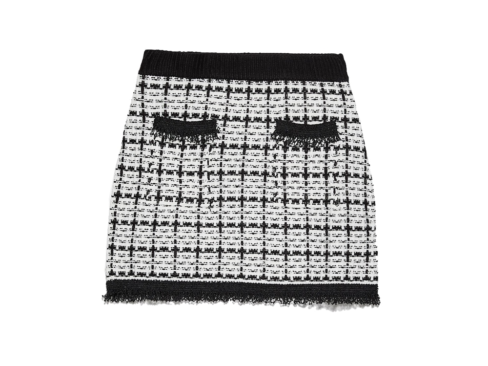 ZARA-minigonna-in-tweed-nero-ecrù