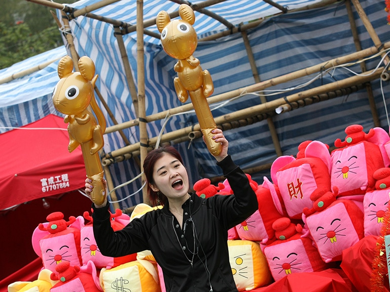 One of the stalls selling toys with Year of the Rat theme at Chinese New Year fair which opens today in Victoria Park, Causeway Bay. 01 FEBRUARY 2008
