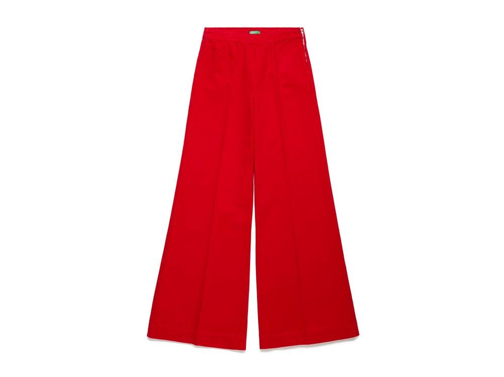 BENETTON-pantaloni-a-palazzo-rossi-con-zip-laterale