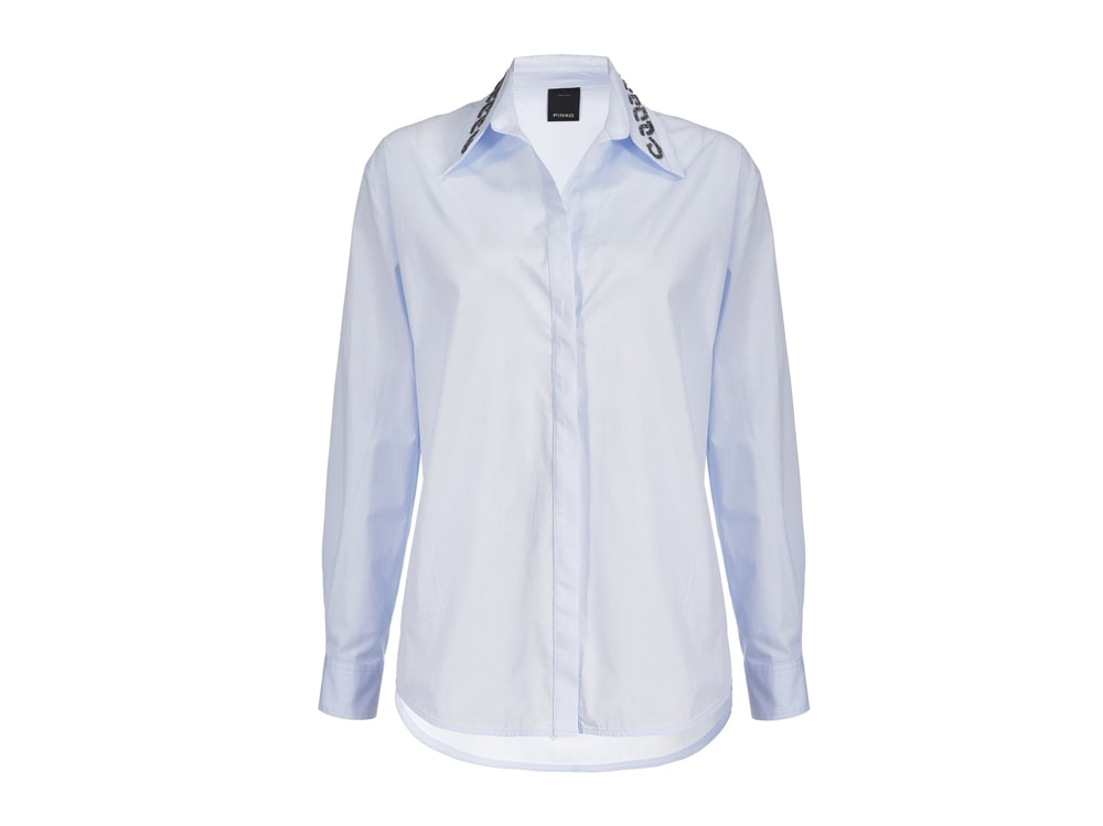 PINKO-Camicia-celeste-conricamo-sul-colletto