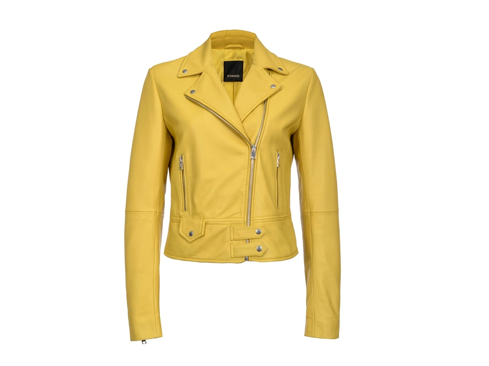 PINKO-giacca-biker-in-pelle-gialla