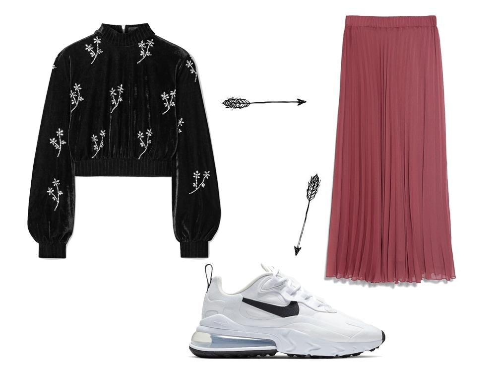L'outfit è composto da un paio di sneakers basse della Nike