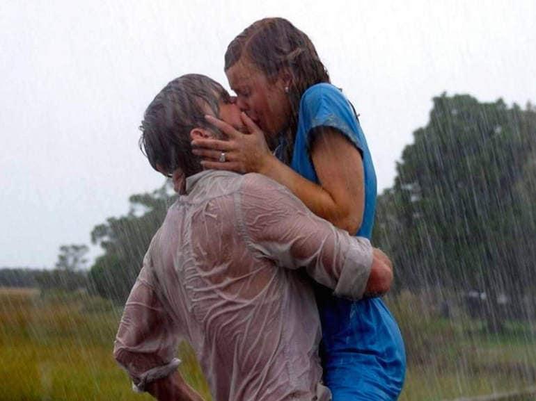 Ryan Gosling bacio pioggia