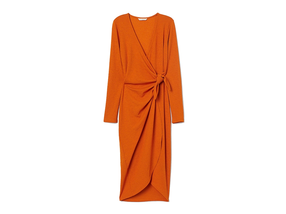 H&M-abito-incrociato-arancione-con-scollo-a-V
