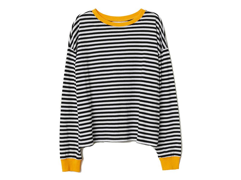 H&M-maglia-a-righe-in-jersey-con-collo-e-polsini-in-giallo