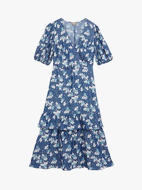abito midi blu a fiori JOHN LEWIS