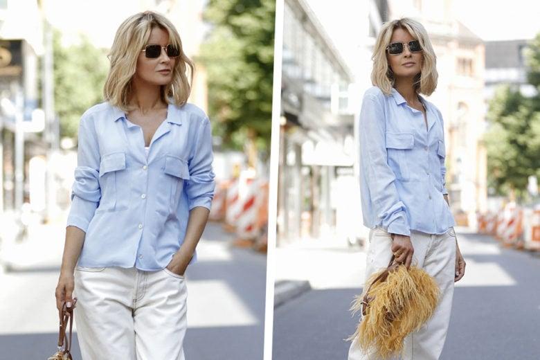 La combo top di Settembre? Camicia azzurra + jeans bianchi, che domande!