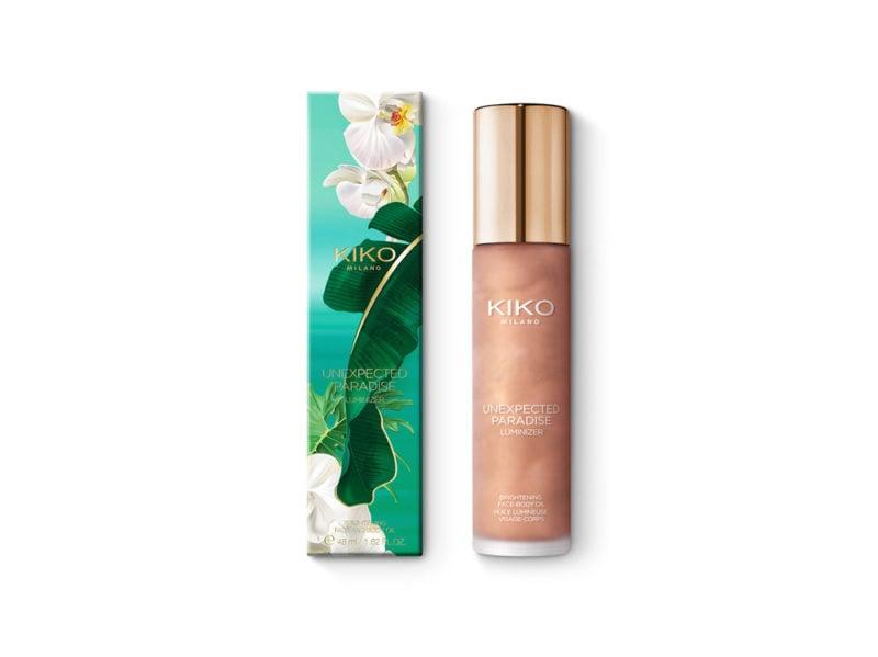 beauty-case-al-mare-prodotti-consigli-vacanze-make-up-solari-capelli-corpo-OLIO-SECCO-LUMINOSO-VISO-E-CORPO-KIKO-UNEXPECTED-PARADISE