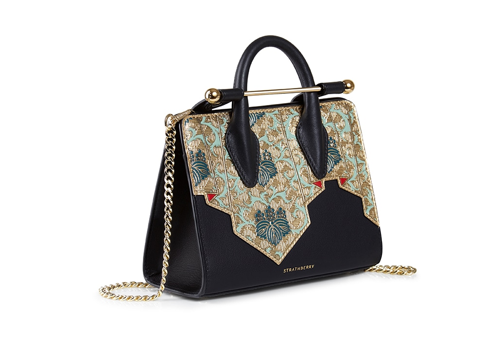 The-Strathberry-Nano-Tote_High-Frequency-Taspestry_Black_Gold_Hero